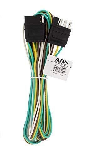 ABN Trailer Wire Extension, 8' Foot, 4-Way 4-Pin Plug Flat 20 Gauge – Hitch Light Trailer Wiring Harness Extender