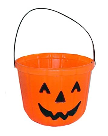 one orange plastic pumpkin jack o lantern design trick or treat bucket 6 - Plastic Pumpkins