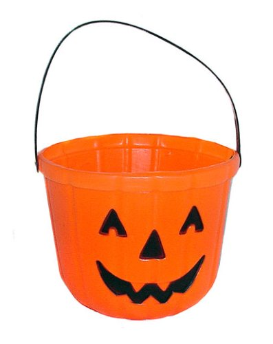 Trick Or Treat Bucket (One Orange Plastic Pumpkin Jack O Lantern Design Trick Or Treat Bucket - 6