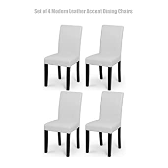 Beau Modern Design High Backrest Dining Chairs Sturdy Hardwood Legs Unique PU  Leather High Density Foam Seat