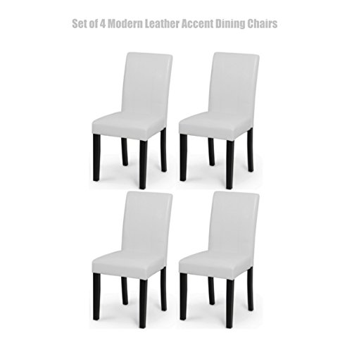 Modern Design High Backrest Dining Chairs Sturdy Hardwood Legs Unique PU Leather High Density Foam Seat Home Office Furniture Set of 4 White - Green Settlers Hours