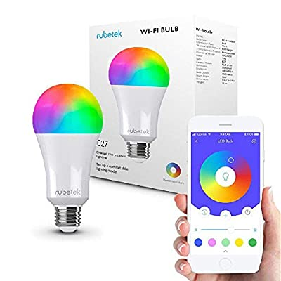 Smart WiFi LED Light Bulb-LED RGB Color Changing Bulbs-Compatible with Amazon Alexa Echo and Apple HomeKit, No Hub Required, A19 E26 Multicolor