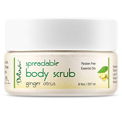 (Dead Sea Salt Scrub, Exfoliating & Highly Moisturizing Face & Body Scrub. Infused With Sweet Almond, Citrus & Ginger Oils and Vitamin E. Turn Rough Dry Skin into Silky Smooth)