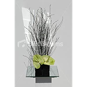 Artificial Green Anthurium & Black Twig Cube Vase Table Display 5