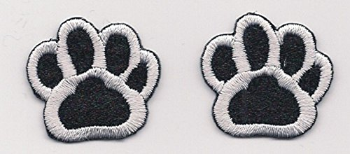 [Applique Patches Mini Black White Dog Animal Paw Print Embroidery Applique Patch 1