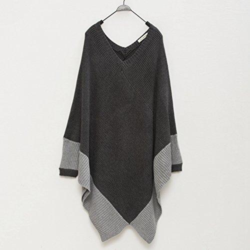 Weyeei Mujeres Manga Larga Poncho Suéter Flojo Pullover Puente Prendas de Punto Gris Oscuro