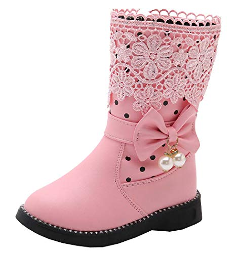 DADAWEN Girl's Waterproof Lace Bowknot Side Zipper Fur Winter Boots (Toddler/Little Kid/Big Kid) Pink(Update) US Size 2.5 M Little Kid