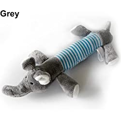 gainvictorlf Pet Supplies Dog Puppy Pet Chew Squeaker Squeaky Plush Pig Duck Elephant Sound Training Toy - Grey