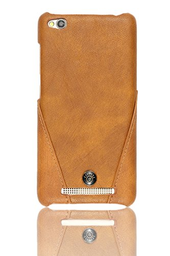 Parallel Universe Xiaomi Redmi 3s Back Cover Case Premium Stitched Leather Hard Backcover   Brown