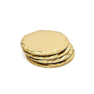 Renee Redesigns Round Hand Painted Gold Slate Drink Coasters with Gold Eyelet Detailing, Gift Set of 4 | Protects Table Surfaces | For Hot & Cold Beverages and Candles