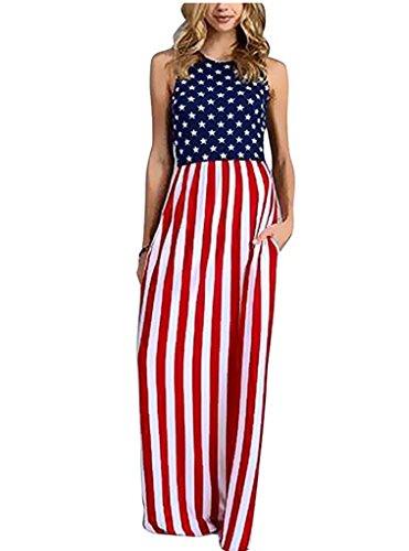 OQC Women's Sleeveless Star and Stripe Print Summer Casual Maxi Tank Dress USA (Patriotic Dresses)