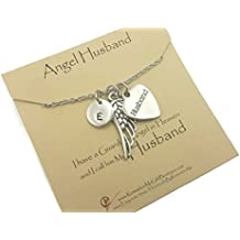 Sympathy Gift, Loss of Husband, Pewter Initial, Angel Wing, Husband Pendant, Memorial Jewelry