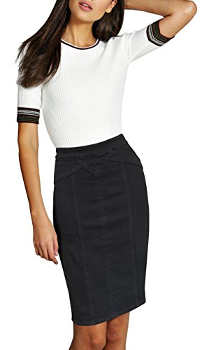 Womens Pull on Stretch Denim Skirt SKSFJHK 10078M BLACK 12