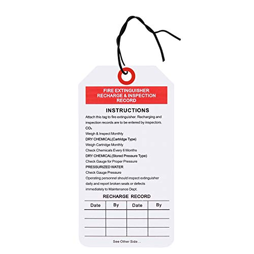 Fire Extinguisher Tags, Fire Extinguisher Inspection Record, Come with Ties 3