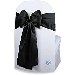 Sparkles Make It Special 100 pcs Satin Chair Cover Bow Sash - Black - Wedding Party Banquet Reception - 28 Colors Available
