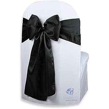 Amazon Com Black Satin Wedding Chair Sash Bows Set Of 10