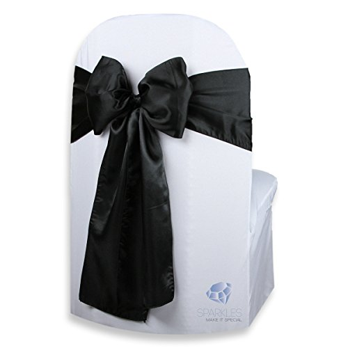 Sparkles Make It Special 100 pcs Satin Chair Cover Bow Sash - Black - Wedding Party Banquet Reception - 28 Colors ()