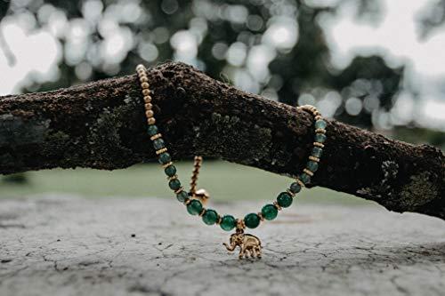 Changnoi Green Jade Brass Elephant Charm Anklet for Women, Festival Anklet, Boho Anket, Bohemian Anklet, Hippie - Jade Anklet
