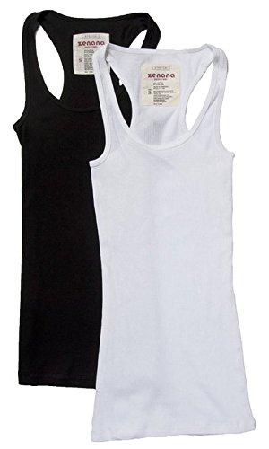 (2 Pack Zenana Womens Basic Ribbed Tank Top Med Charcoal, White)