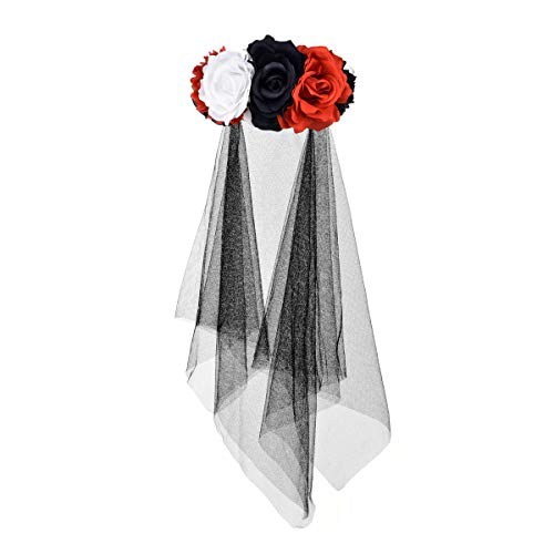 Floral Fall Day of The Dead Flower Crown Festival Headband Rose Mexican Floral Headpiece HC-23 (V-Red White Black Veil)