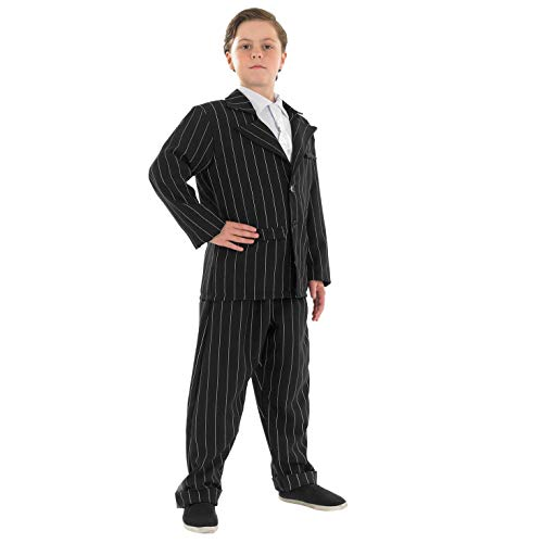 fun shack Boys Little Gangster Costume Kids Black Pinstripe Mafia 1920S Suit - X-Large -