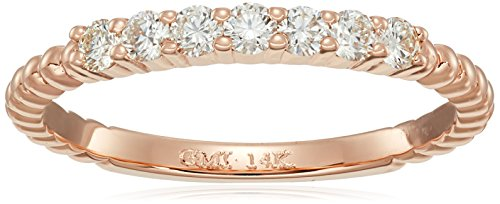 14k Pink Gold Round-Cut Diamond Stackable Ring (1/3cttw, ...