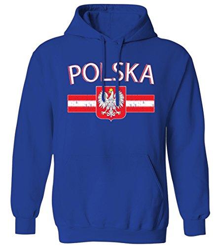 Polska Distressed Flag Stripe Banner -Polish Poland Pride Mens Hoodie Sweatshirt (Royal, X-Large)