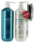 Bonus Set, Orlando Pita Moroccan Argan Oil Glossing Hair Shampoo and Conditioner 27 fl oz Plus Gold Brush