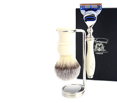 3 Piece Shaving Kit in Ivory Colour( Brush, Gillette Fusion Razor & Brush Stand) by Haryali London