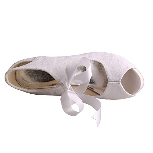 Wedopus Bridal High Wedding Lace Strap Toe Open White MW860 Ribbons Shoes Women's Heel wqwpr