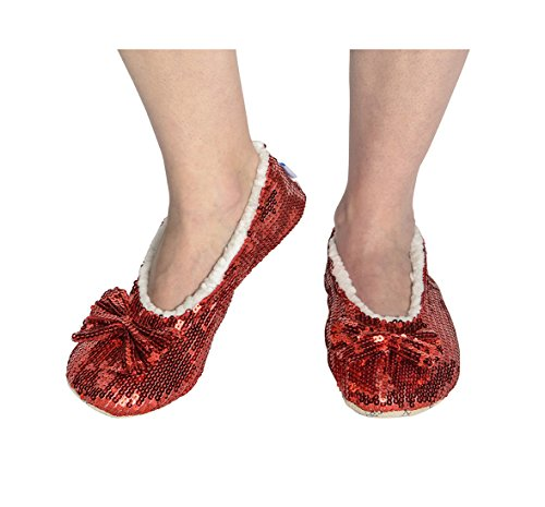 Snoozies! Ballerina Bling Juvel Ton Metall Shine Kvinna Mysiga Tofflor Imperial Red