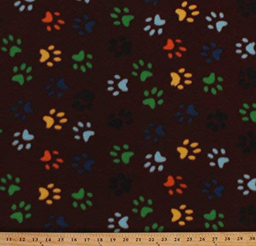Fleece Colorful Paws on Brown Dogs Puppies Puppy Paw Prints Animal Pets Fleece Fabric Print by the Yard - Fleece Large Print Paw