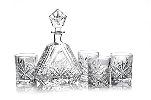 James-Scott-6-PC-crystal-Bar-Set-for-Whiskey-Wine-and-Liquor-This-Irish-Cut-whiskey-Set-includes-a-Triangular-Decanter-610ml-1025-in-Tall-and-4-x-8-oz-crystal-DOF-Glasses-and-Tray