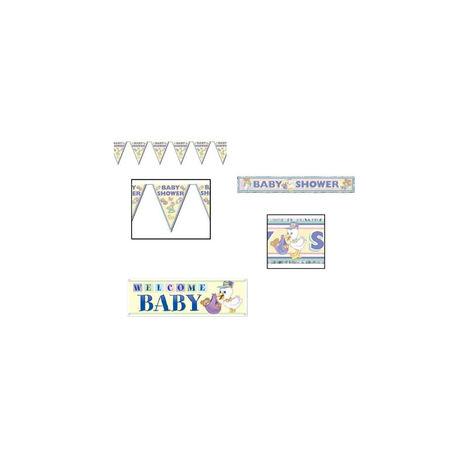 WELCOME BABY Shower DECORATING Set/BOY or GIRL/Unisex/PARTY DECOR/Signs/PENNANT/PINK BLUE
