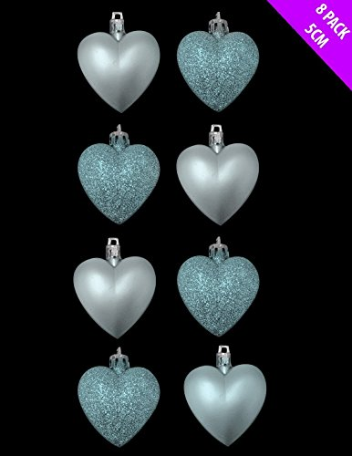 8 x 5cm Baby Blue / Ice Blue Matt Heart Shaped Christmas Tree Baubles ()