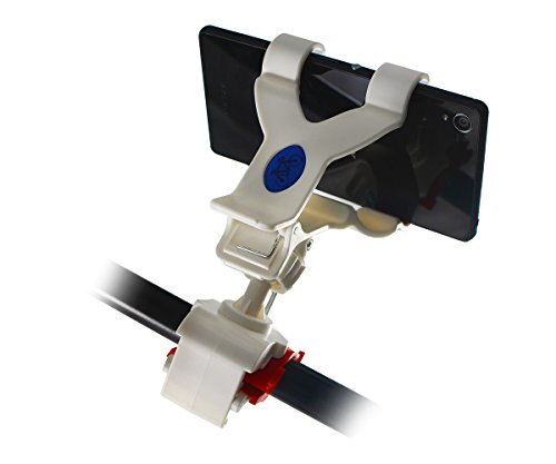 Lilware Claws Universal Bicycle Handlebar Phone / PDA / GPS / MP3 Player Holder. Compact Size Clamping Bike Mount With Max Opening 120 mm and 360 Degree Rotating System. White / Blue