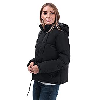 Brave Soul Womens Cello Padded Hooded Jacket in Black.