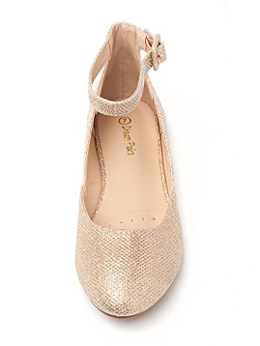 Glitter Shoes Flats Strap Ankle Wedge PAIRS Revona Women's Low Gold DREAM SOZ7vO8