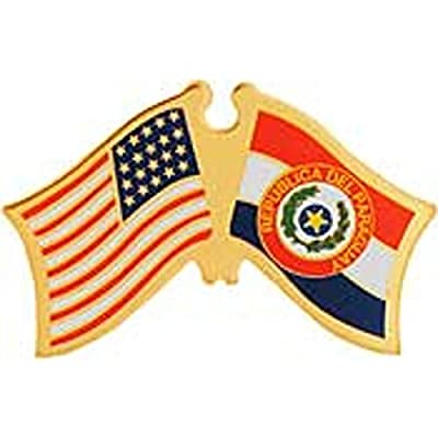 American & Paraguay Flags Pin 1""