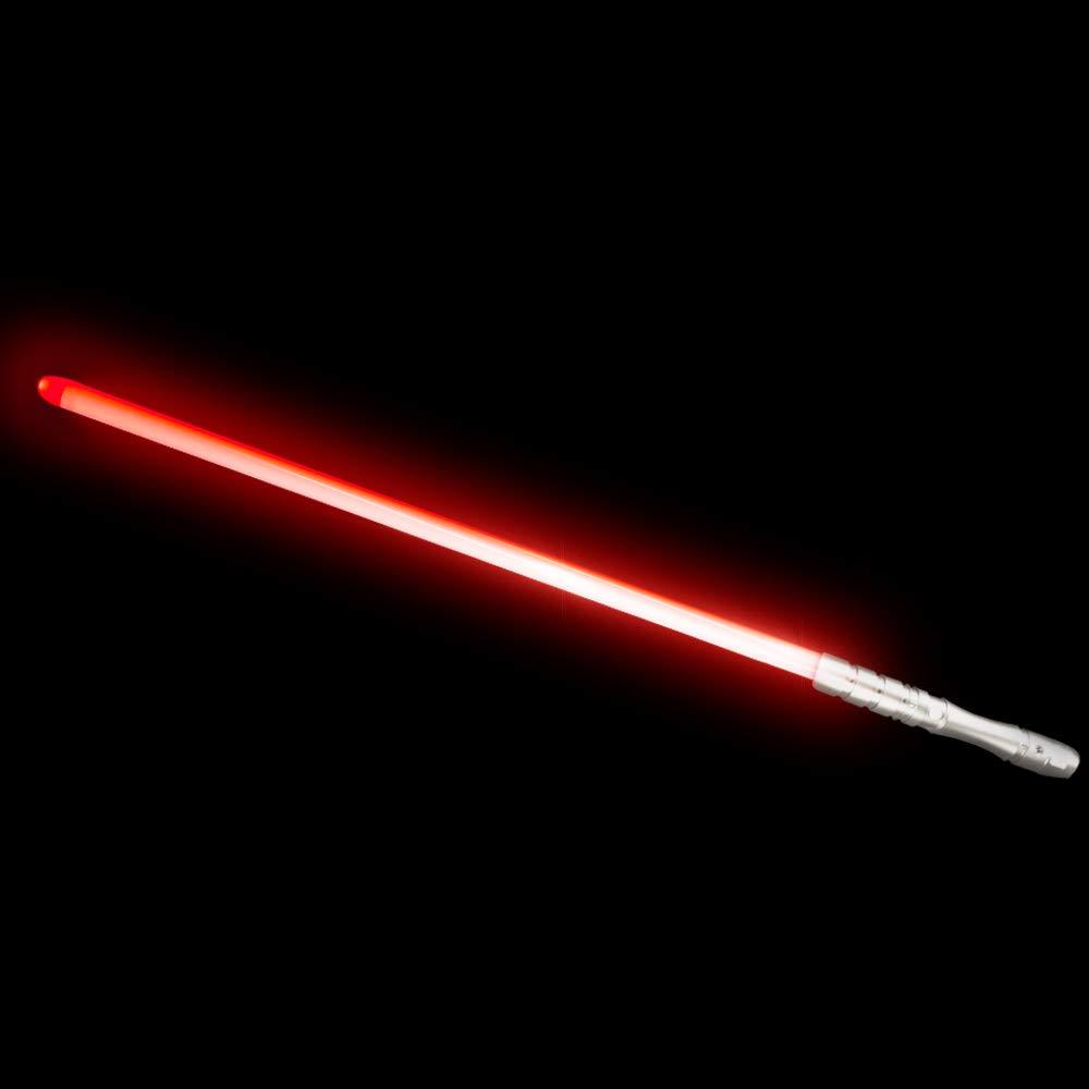 YDD LED Light Saber, Force FX Lightsaber with Sound and Light, Rechargeable Light Up Sword, Metal Hilt, Star Wars Toy for Man Kids(Silver Hilt Red Blade)