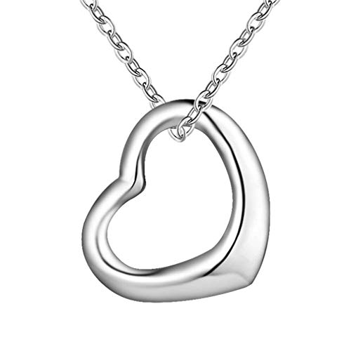 New Special Female Fashion Silver Cute Women Heart Lover Women Lady Charms Jewelry Necklaces ()