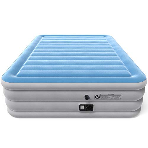 Vremi Inflatable Queen Air Mattress - Premium Raised Blow Up Air Bed 21.5 Inches High with Built-in Pump - Includes Storage Bag for Camping and Travel - Holds up to 600 lbs