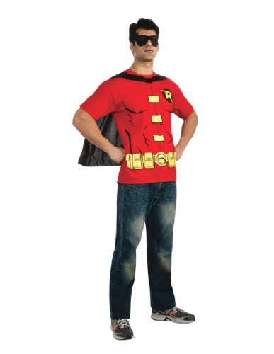 DC Comics Men's Robin T-Shirt With Cape And Mask, Red, (Man Superhero Costumes)