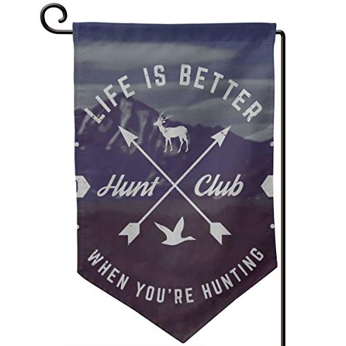 Private Bath Customiz Hunting Quote Hunt Club Emblem with Arrows Garden Flag Vertical Double Sided 12.5 X 18 Inch Farmhouse Summer Yard Outdoor Decor Double Sided