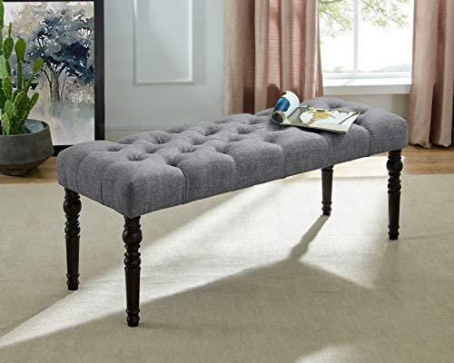 Roundhill Furniture Leviton Fabric Tufted Turned Leg Dining Bench, gray