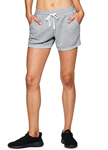 (RBX Active Women's French Terry Workout Athletic Lounge Shorts Grey M)