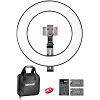 Neewer 14-inch Outer Dimmable Bi-color SMD LED Ring Light Lighting Kit for Smartphone Video Shooting with (1)Support Bracket, (1)Ball Head,(1)Phone Holder,(2)Li-ion Battery,(1)Charger,(1)Carrying Bag