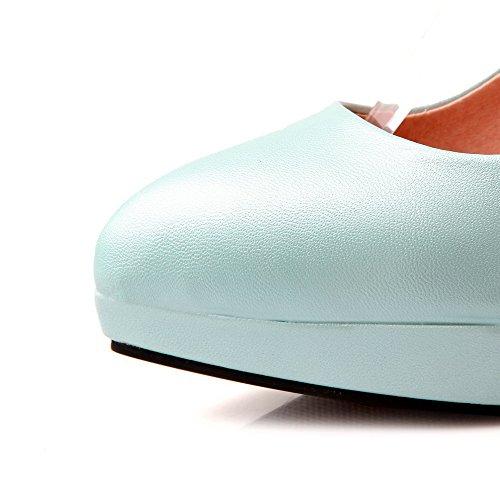 AgooLar Damen Schnalle Stiletto Pu Rein Spitz Zehe Pumps Schuhe Himmelblau