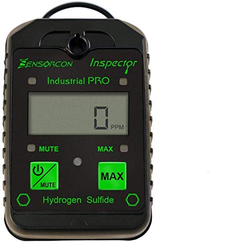 Sensorcon H2S Industrial Pro, Hydrogen Sulfide Detector, Adj. Alarm Points. Measures H2S 0-400 ppm, Waterproof, 2-year warranty, Made in USA