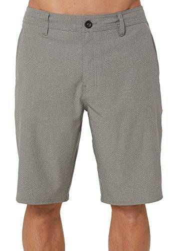 O'Neill Men's Water Resistant Hybrid Walk Short, 21 Inch Outseam (Heather Grey/Reserve, -